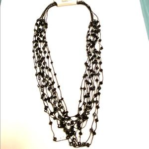 Long black beaded Statement necklace